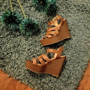 Express Camel Wedge Sandals